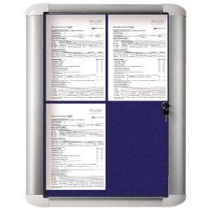 Bi-Office External Display Case 450x614mm Blue Felt Aluminium Frame VT610107760