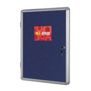 Bi-Office Lockable Internal Display Case 1780x1180mm Blue Felt Aluminium Frame VT770107150