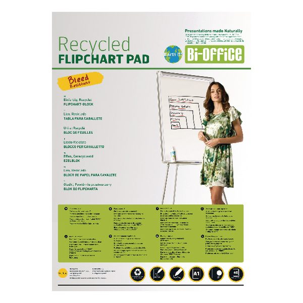 Bi-Office Earth-It Flipchart A1 Pad Plain 40 Sheets 55gsm FL0111801