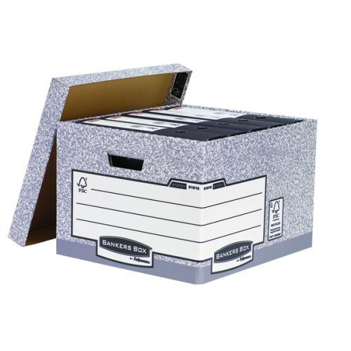 Bankers Box Storage Box Large Grey (Pack of 10) 01810-FFLP - BB0181070