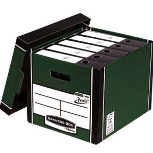 Fellowes Bankers Box Premium Presto Storage Box Green/White (Pack of 10+2) 7260801 - BB07300