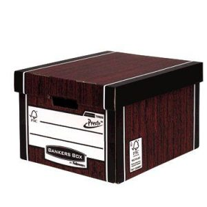Fellowes Bankers Box Premium Presto Classic Storage Box Woodgrain (Pack of 10+2) 7250501 - BB55208