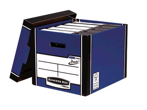 Fellowes Bankers Box Premium Presto Storage Box Blue/White (Pack of 12) 7260601 - BB729