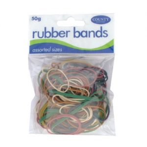 County Rubber Bands Coloured 50gm (Pack of 12) C225 - CTY09615