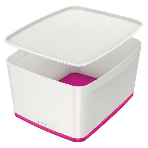 Leitz MyBox Large Storage Box With Lid White/Pink 52161023 - LZ58833