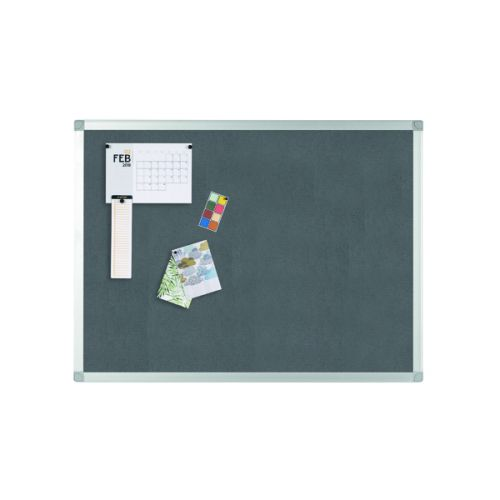 Q-Connect Aluminium Frame Felt Noticeboard 1200x900mm Grey 9700026 - KF01074