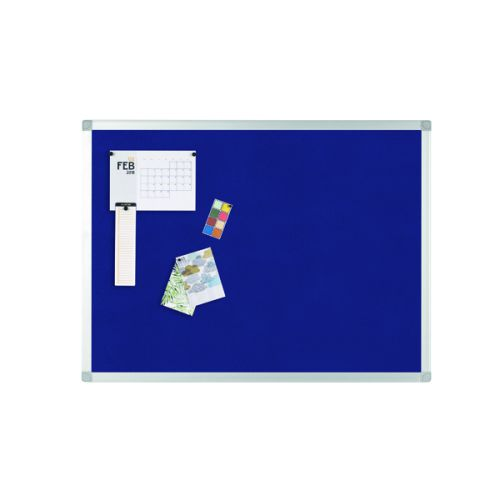 Q-Connect Aluminium Frame Felt Noticeboard 1200x900mm Blue 9700029 - KF01077