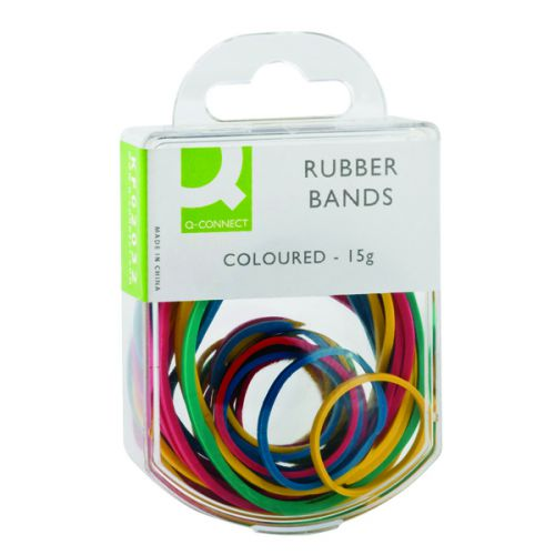 Q-Connect Rubber Bands Assorted Sizes Coloured 15g (Pack of 10) KF02032Q - KF02032Q