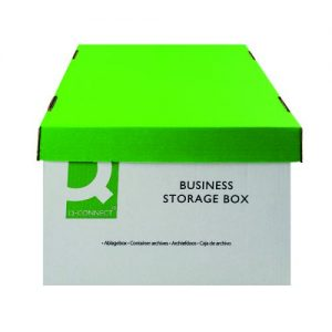 Q-Connect Business Storage Box 335x400x250mm Green and White (Pack of 10) KF21660 - KF21660