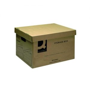 Q-Connect Brown Storage Box 335x400x250mm (Removable lid and cut out handles) KF21665 - KF21665