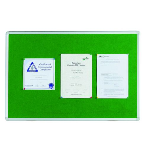 Q-Connect Aluminium Frame Felt Noticeboard 1200x900mm Green 54034204 - KF26064
