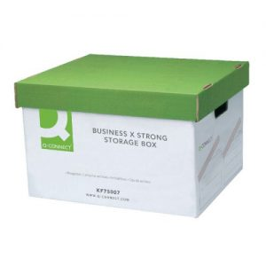 Q-Connect Extra Strong Business Storage Box W327xD387xH250mm Green and White (Pack of 10) KF75007 - KF75007