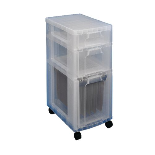 Really Useful Plastic Storage Tower 3 Drawers Clear 7L/12L/25L DT1019 - RUP63357