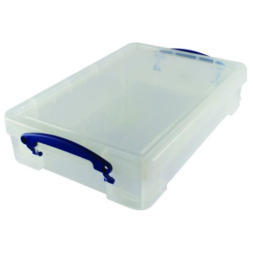 Really Useful 4 litre Plastic Storage Box With lid 395x255x80mm Clear KING4C - RUP80044