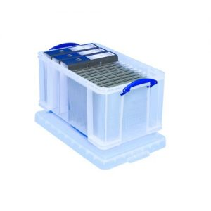 Really Useful 48L Plastic Storage Box W600xD400xH310mm Clear 48C - RUP80147