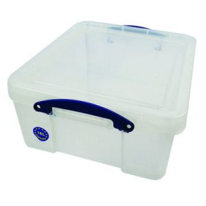 Really Useful 18L Plastic Storage Box With Lid W480xD390xH200mm CD/DVDs Clear EBCCD - RUP80155