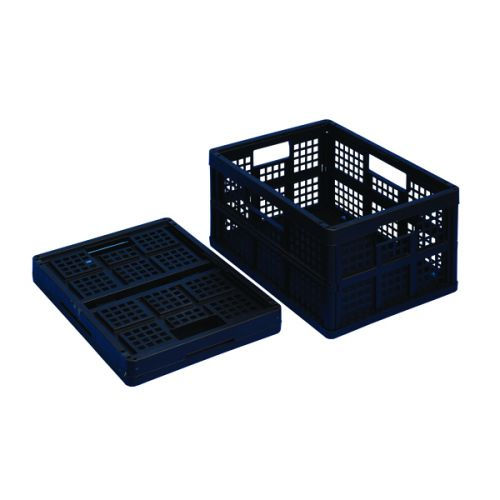 Really Useful 32L Plastic Folding Boxes Black (Pack of 3) 32FBBK - RUP80840