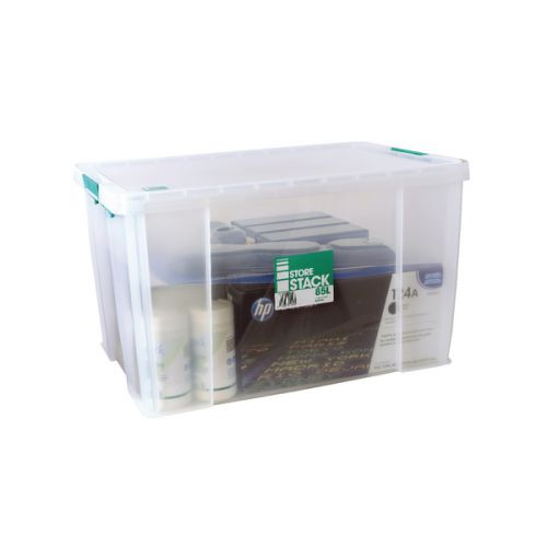 StoreStack 85 Litre Storage Box W660xD440xH390mm Clear RB11090 - RB11090