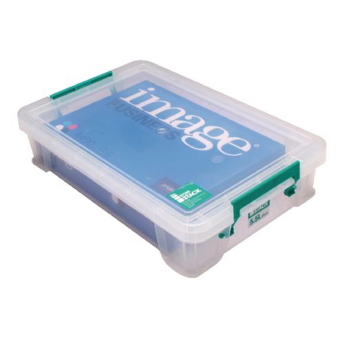 StoreStack 5.5 Litre Storage Box W400xD255xH80mm Clear RB90121 - RB90121