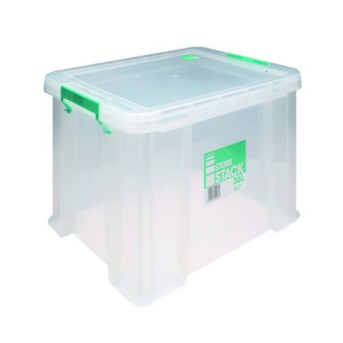 StoreStack 36 Litre Storage Box W480xD380xH320mm Clear RB90124 - RB90124