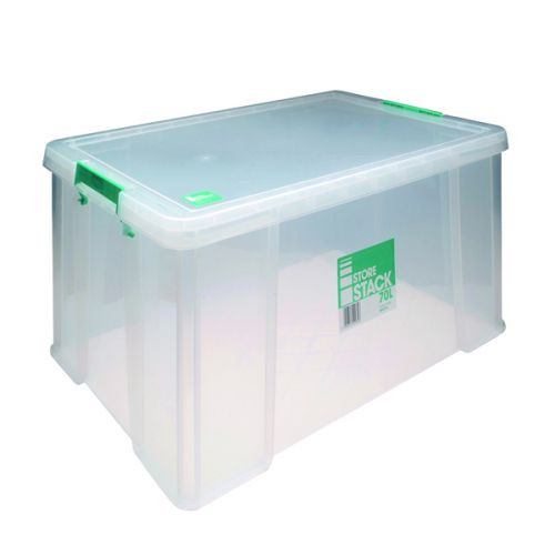StoreStack 70 Litre Storage Box W660xD450xH320mm Clear RB90126 - RB90126