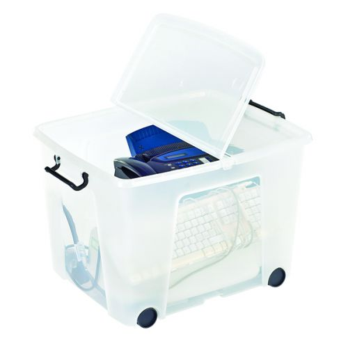 Strata Clear Smart Wheeled Box 75 Litre (Snap close