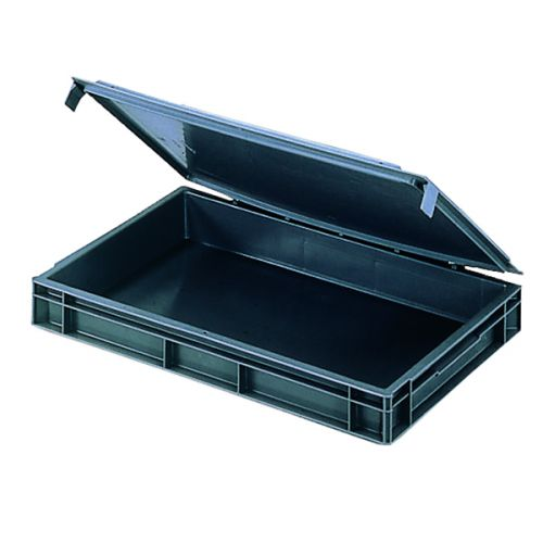 VFM Black Euro Pallet Stacking Box With Lid 307446 - SBY04902