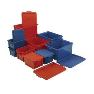 VFM Blue Jumbo Plastic Storemaster Crate With Lid 374344 - SBY20517