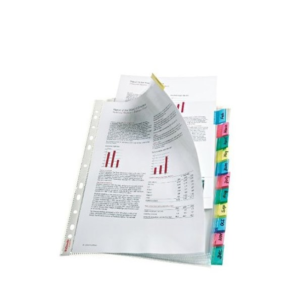 Esselte 12-Tab Index Pocket A4 Assorted 414170 - ES14170