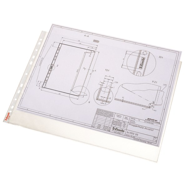 Esselte Pocket Landscape Top Opening Embossed A3 Clear (Pack of 10) 47182 - ES47182