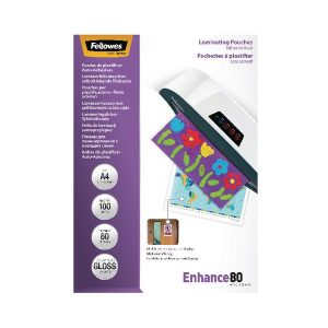 Fellowes A4 Self Adhesive Enhance Laminating Pouches(Pack of 100)53022 - BB53022