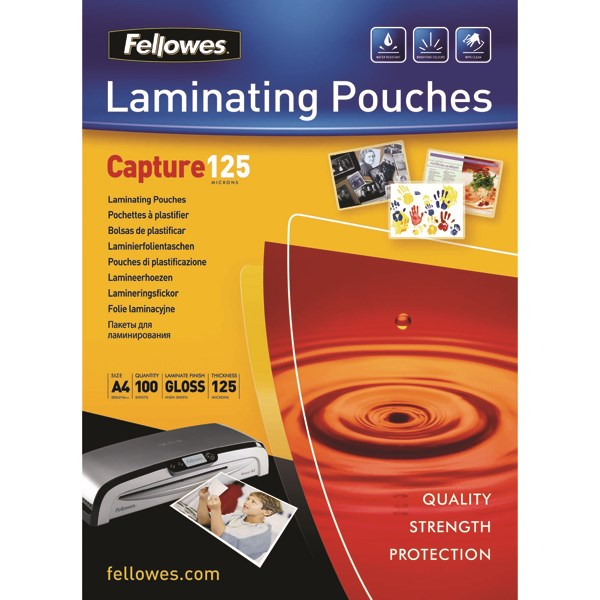 Fellowes A4 Capture Laminating Pouch 250 Micron (Pack of 100) 55307401 - BB53074