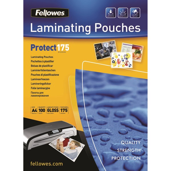 Fellowes A4 Protect Laminating Pouch 350 Micron (Pack of 100) 53087 - BB53087