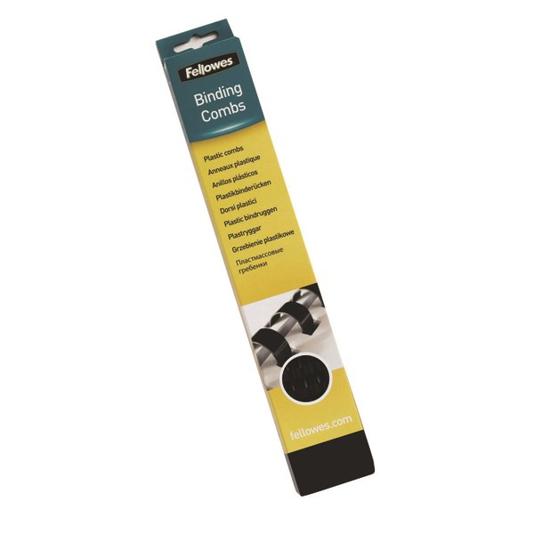 Fellowes A4 Binding Combs 19mm Black (Pack of 100) 53477 - BB53477