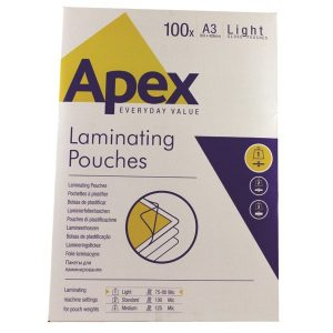 Fellowes Apex A3 Light Laminating Pouches Clear (Pack of 100) 6001901 - BB58484