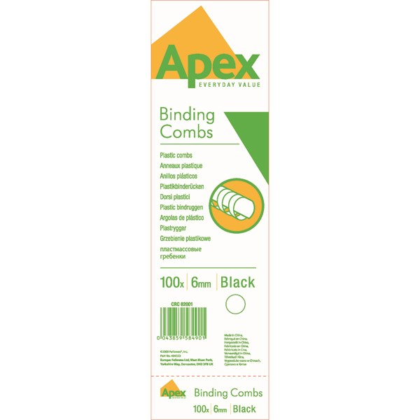 Fellowes Apex Plastic Binding Combs 6mm Black (Pack of 100) 6200102 - BB58490