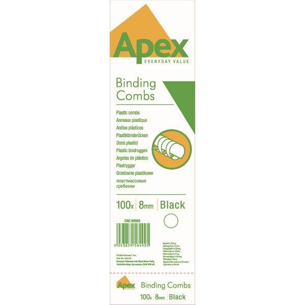 Fellowes Apex Plastic Binding Combs 8mm Black (Pack of 100) 6200301 - BB58492