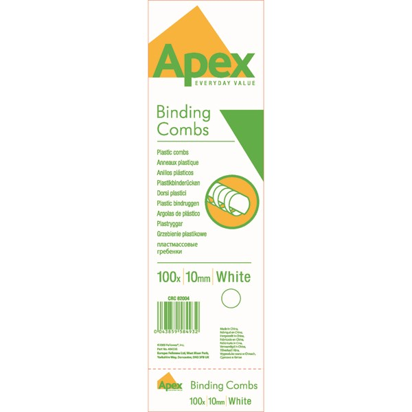 Fellowes Apex Plastic Binding Combs 10mm White (Pack of 100) 6200401 - BB58493