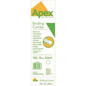 Fellowes Apex Plastic Binding Combs 12mm Black (Pack of 100) 6201101 - BB58496
