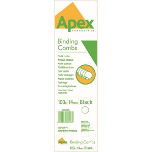 Fellowes Apex Plastic Binding Combs 14mm Black (Pack of 100) 6202101 - BB58498