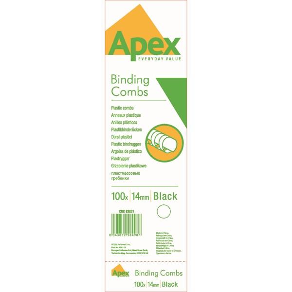 Fellowes Apex Plastic Binding Combs 14mm Black (Pack of 100) 6202101 - BB58498
