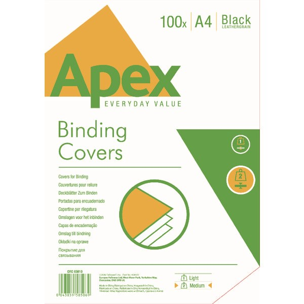 Fellowes Apex A4 Leatherboard Covers Black (Pack of 100) 6501001 - BB58506