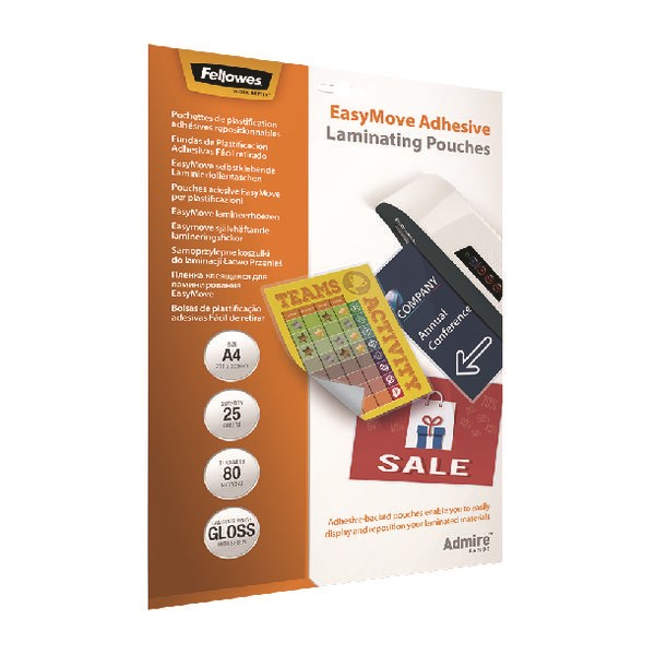 Fellowes Admire EasyMove A4 Laminating Pouches (Pack of 25) 5601701 - BB73083