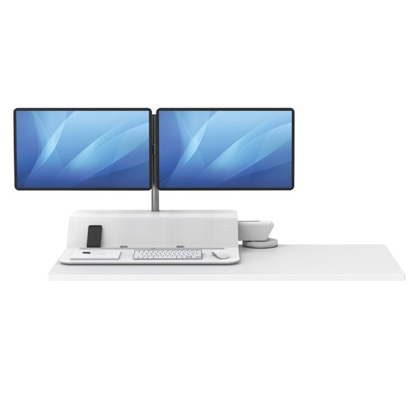 Fellowes Lotus Sit Stand Work Station Dual Screen White 8081601 - BB73704
