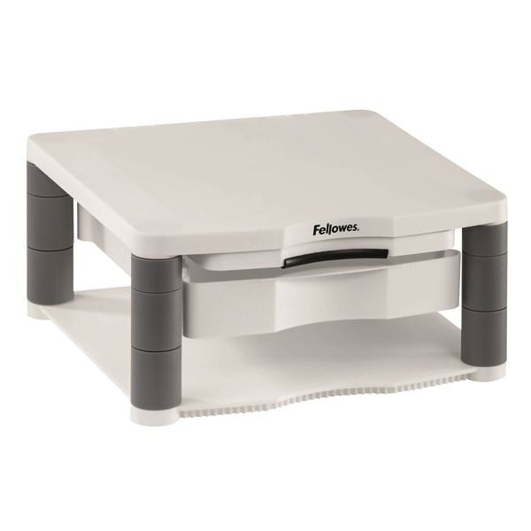 Fellowes Premium Monitor Riser Plus White (Contains storage drawer and built in copyholder) 9171302 - BB91713