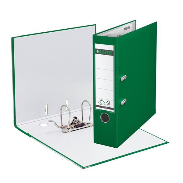 Leitz 180 Lever Arch File Poly 80mm A4 Green (Pack of 10) 10101055 - LZ101055