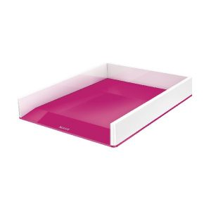 Leitz WOW Letter Tray Dual Colour White/Pink 53611023 - LZ11359