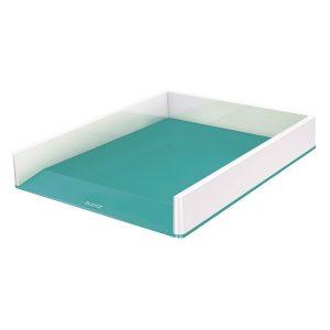 Leitz WOW Letter Tray Dual Colour White/Ice Blue 53611051 - LZ12201