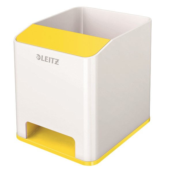 Leitz WOW Sound Pen Holder Dual Colour White/Yellow 53631016 - LZ12208