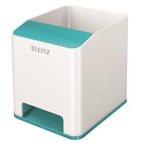 Leitz WOW Sound Pen Holder Dual Colour White/Ice Blue 53631051 - LZ12209
